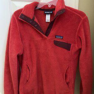 Red Patagonia Button Up Sweatshirt